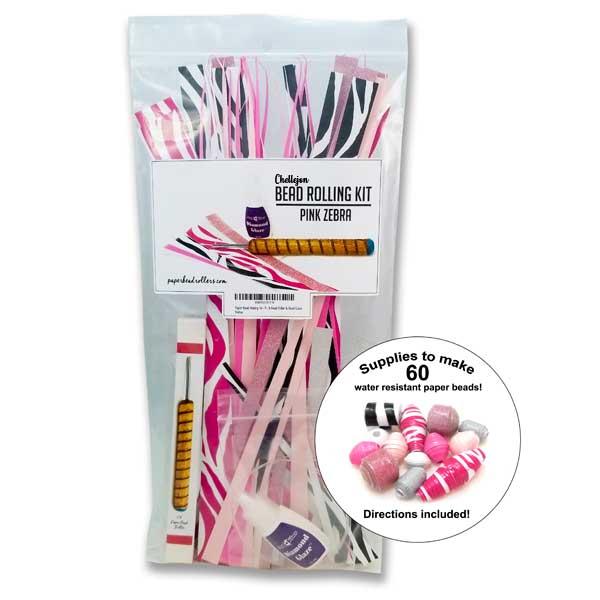 Paper Bead Making Kit – Pink Zebra