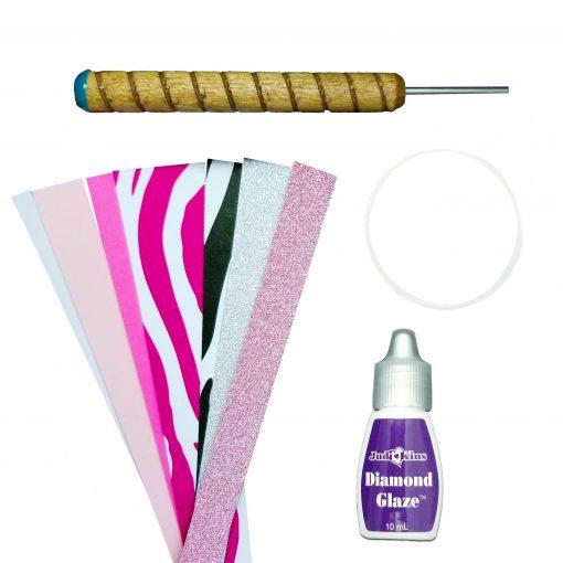 Paper Bead Rolling Kit Pink Zebra