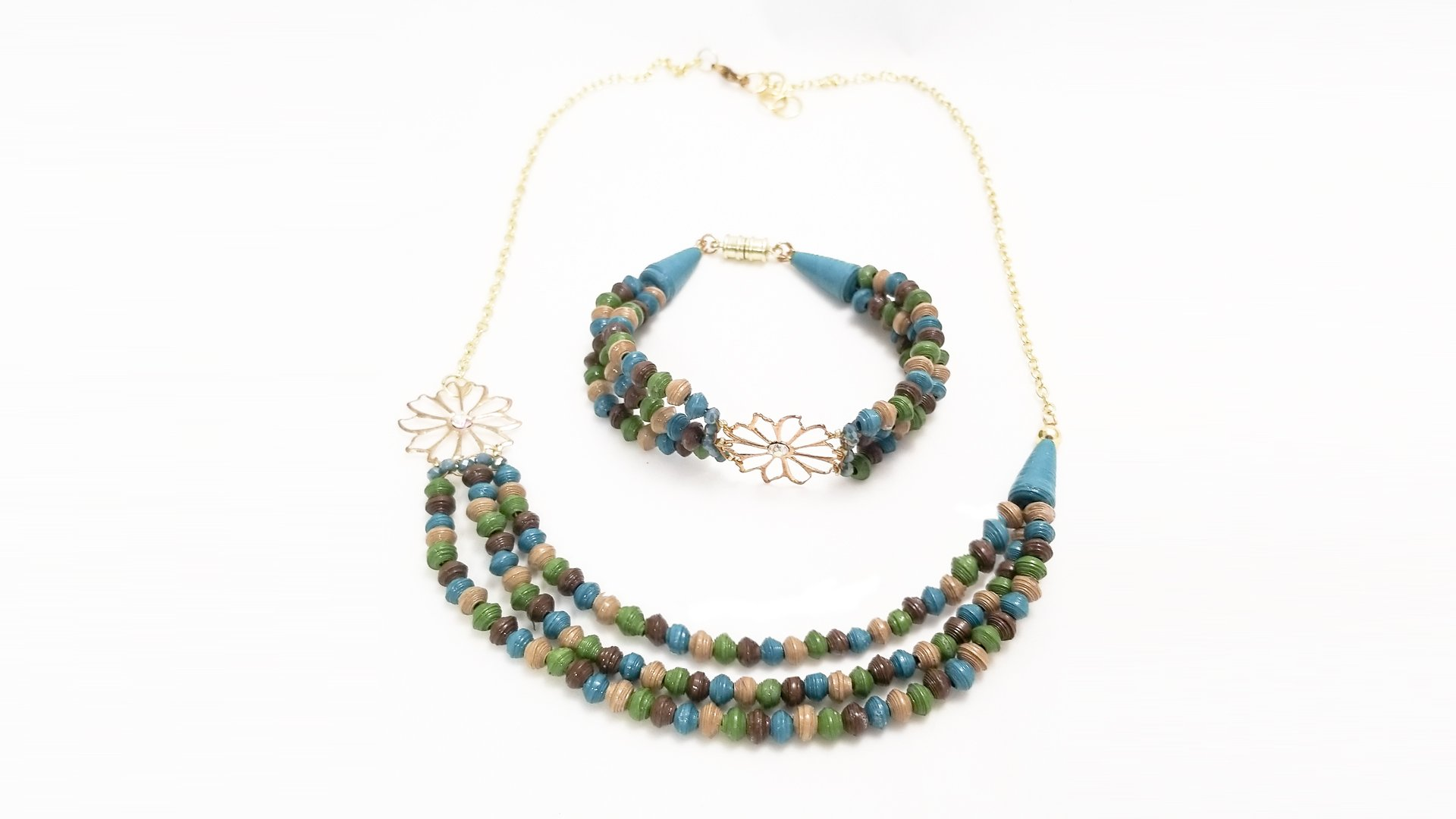 Multi-Strand Paper Bead Bracelet Necklace