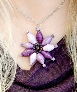 Paper Bead Flower Pendant – Purple