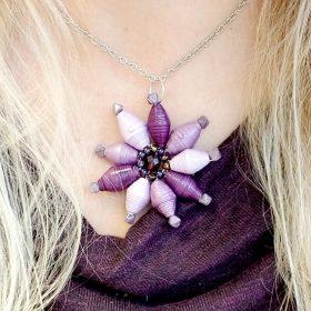 Paper Bead Flower Pendant – Purple