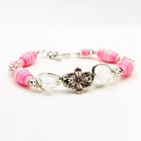 Pink & Crystal Heart Paper Bead Bracelet