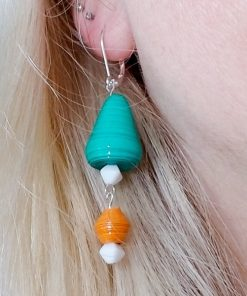 Teal & Coral Paper Bead Earrings