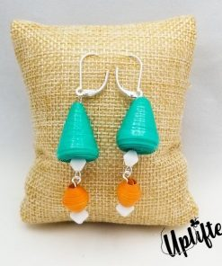 Teal & Coral Cone Paper Bead Earrings