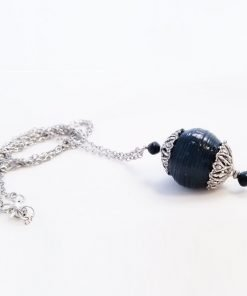 Black and Silver Paper Bead Pendant Necklace