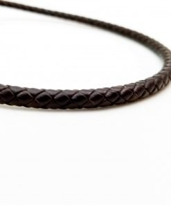 Brown Braided Leather Cord Round 5mm