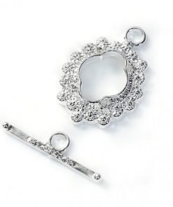Silver Flower Pattern Toggle Clasp