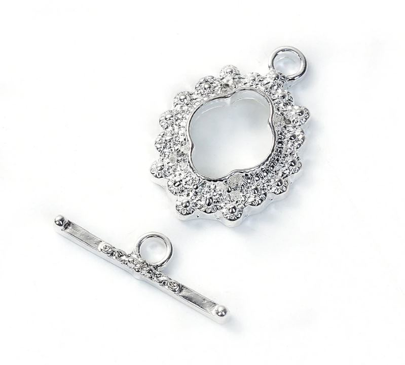 Silver Blooming Elegance Toggle Clasp