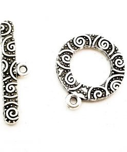 Antiqued Silver Color Toggle Clasp Swirls