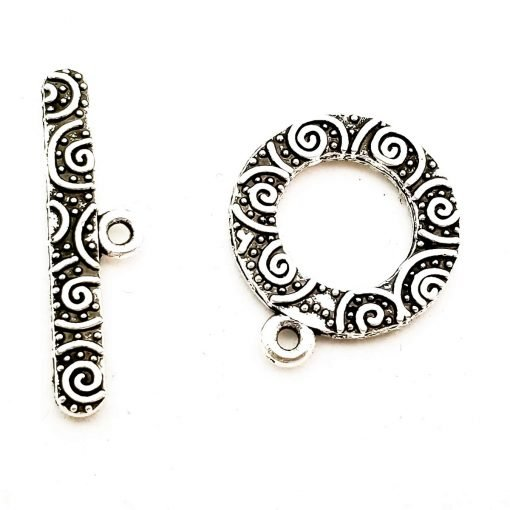 Antiqued Silver Swirl Pattern Toggle Clasp