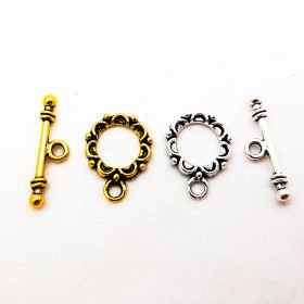 Tibetan Silver or Gold Lacework Circle Toggle Clasps