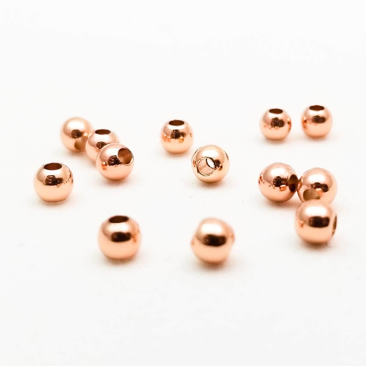 Round Metal Beads Rose Gold 4mm