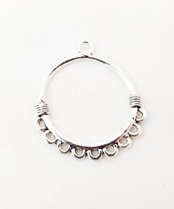Antiqued Silver Circle Chandelier Connector Charm