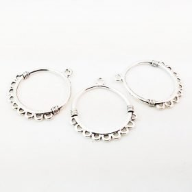 Antiqued Silver Circle Chandelier Charm Connector