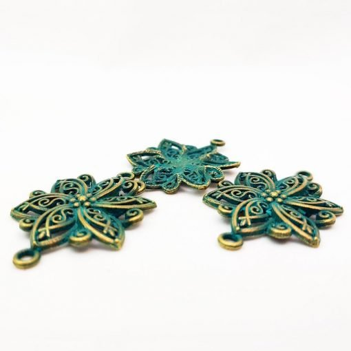 Patina and Gold Plated Flower Connectors