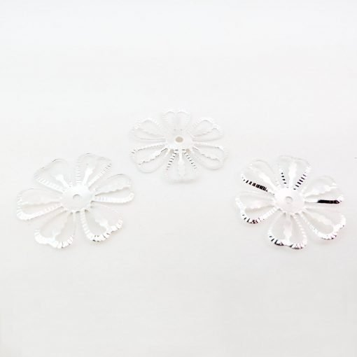 Silver Filigree Flower Bead Caps