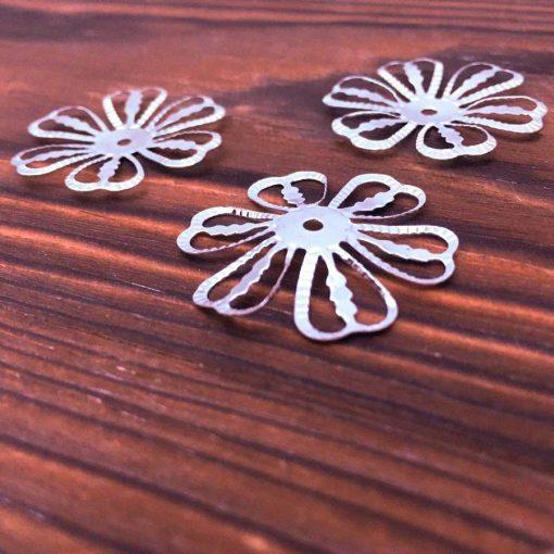 silver filigree flower bead caps