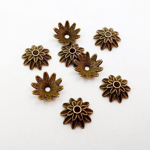 Antique Gold Flower Bead Caps 15mm