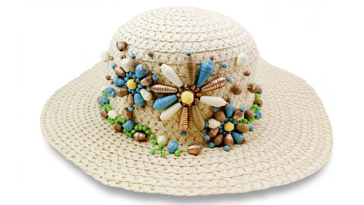 Paper Beaded Straw Hat