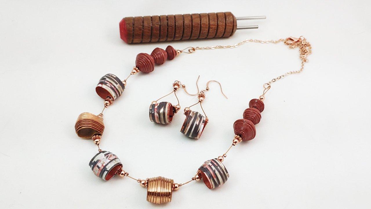 Open Drop Bead Paper Bead Necklace
