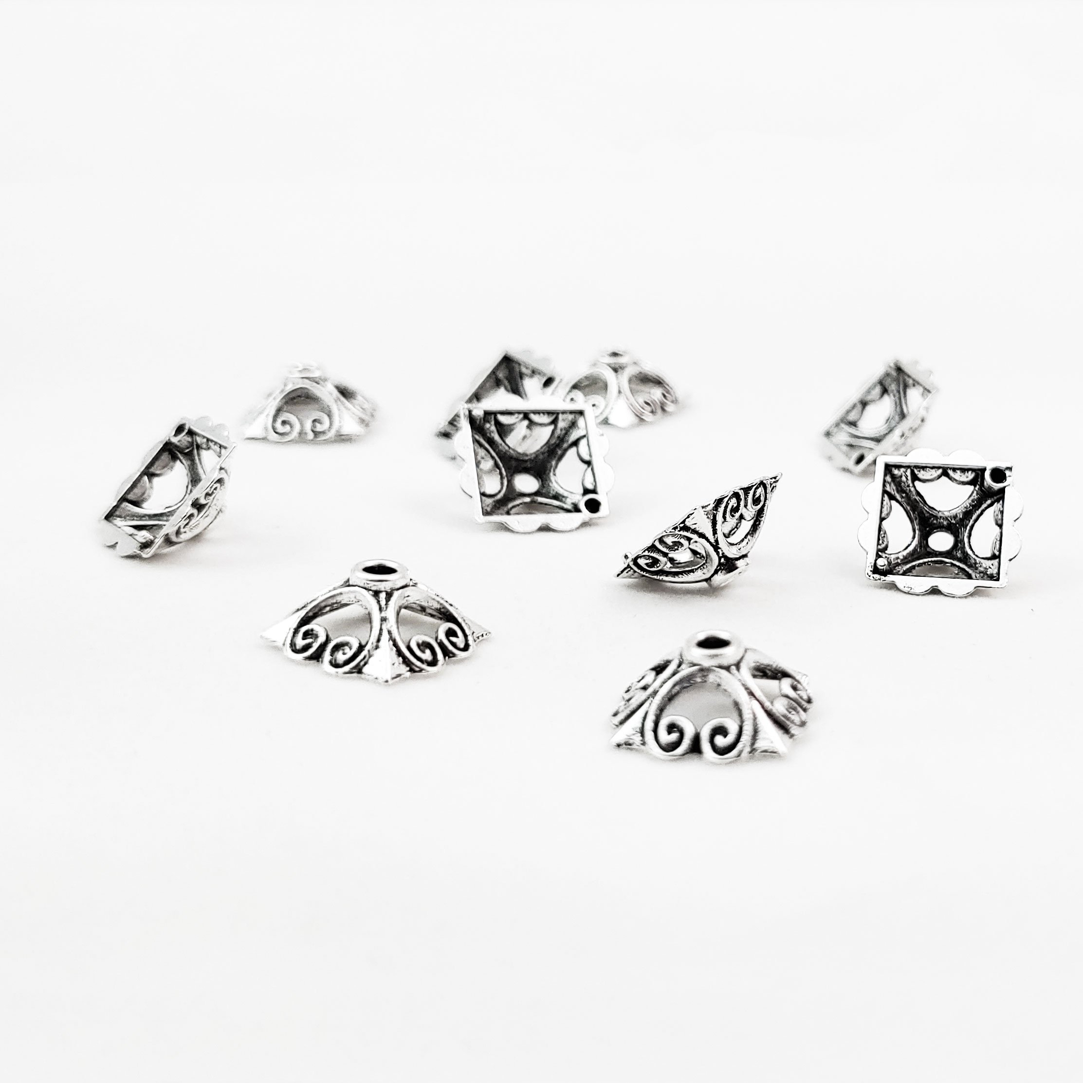 Square Scroll Bead Caps 12mm Antiqued Silver