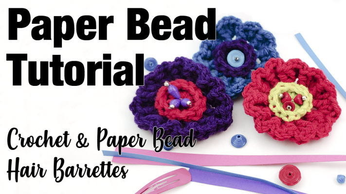 Crochet Flower with Paper Beads