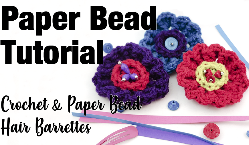 Crochet Flower Barrettes with Bead Accents