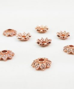 Rose Gold Pave Bead Caps