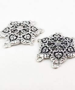 Antique Silver Snowflake Connectors