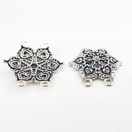 Antique Silver Snowflake Connectors