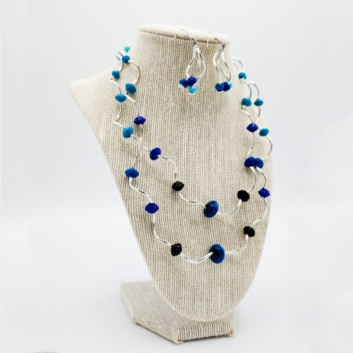 Ombre Twisty Paper Bead Necklace Set