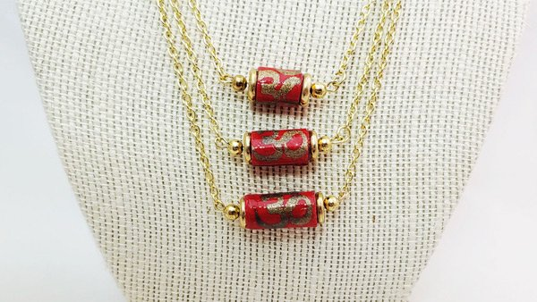 Triple Tier Necklace with Paper Beads